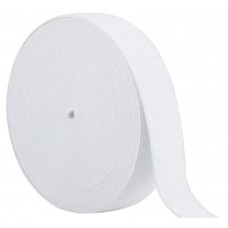 Flat Elastic 25mm - White